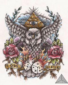 Owl old school Tattoo Design by SarahAnnyMermans.deviantart.com on @DeviantArt