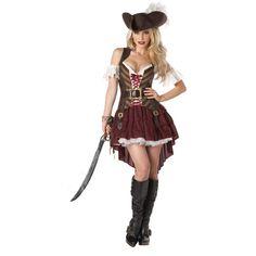 Fantasia Feminina Pirata Luxo Festa Halloween Carnaval