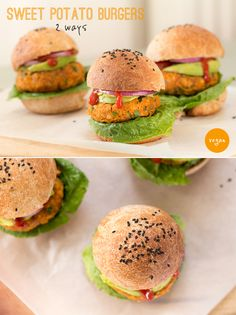 Sweet potato burgers, 2 ways