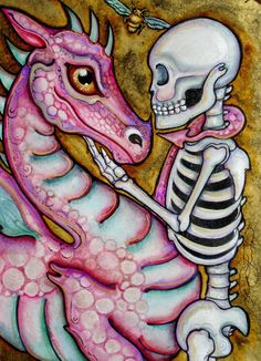 Lisa Luree art fantasy Original Day of the Dead MEDIEVAL PINK DRAGON painting