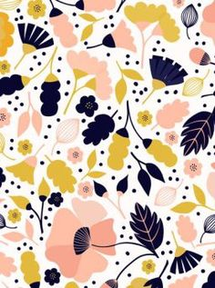 Feena Brooks is a London based surface pattern designer who originally trained in Fine Art and has 16 years experience as an artist/desig. Flower Pattern Design, Design Floral, Motif Floral, Surface Pattern Design, Pattern Art, Vector Pattern, Pattern Painting, Pattern Designs, Pattern Fabric