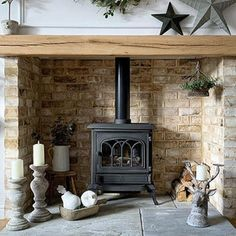 Wood Burner Fireplace, Cabin Fireplace, Inglenook Fireplace, Rustic Fireplaces, Fireplace Remodel, Fireplace Design, Gas Stove Fireplace, Two Sided Fireplace, Country Fireplace