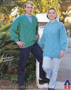 DK - His and Hers Cable Pullover French style Size: 82 pattern available on ETSY in the shop called YarnPassionDesigns
