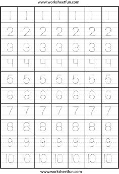 number tracing - Free Printable Activities
