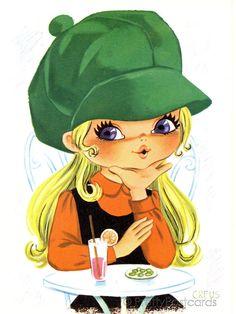 Big Eyed Girl Vintage 70s Postcard by Creus by PrettyPostcards, $5.00