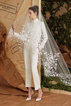 Carolina Herrera white strict formal jumpsuit for wedding
