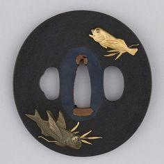 Sword Guard (Tsuba)  Date: ca. 1615–1868 Culture: Japanese Medium: Copper-gold alloy (shakudō), copper-silver alloy (shibuichi), gold, enameled cloisonné (shippō), copper Dimensions: H. 3 in. (7.6 cm); W. 2 3/4in. (7 cm); thickness 1/4 in. (0.6 cm); Wt. 4.9 oz. (138.9 g) Metropolitan Museum of Art