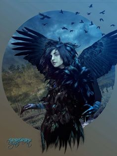 Raven girl  Credits Pinterest Model found on Pinterest. No copyright infringement intended. This is pure for entertainment only.  Credits DA background http://sisterslaughter165.deviantart.com/art/Background-2-372331213 birds http://roy3d.deviantart.com/art/Crows-In-Flight-PNG-Stock-412592119 wings http://kkako.deviantart.com/art/Stock-Wings-set-1-98033492 trees http://brizzolatto55.deviantart.com/art/Trees-01-525100556