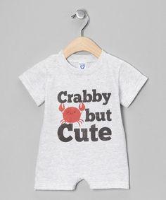 Heather Gray 'Crabby But Cute' Romper - Infant #zulily #zulilyfinds