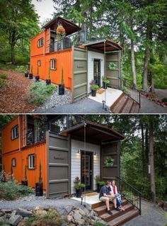 This two-story shipping container house has a beautiful brownish exterior with a small roofed section that protects the starting part of the deck. Building A Container Home, Container Buildings, Container House Plans, Container House Design, Tiny House Design, Tiny House Cabin, Tiny House Living, Tiny House Plans, Shipping Container Cabin