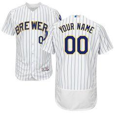 9a4c4cf4d Men s Authentic Customized Milwaukee Brewers Flex Base Alternate White Baseball  Jersey Nhl Jerseys