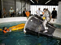Astronauts John Young (on top of the capsule) and Gus Grissom (in the water) practice escaping from a Gemini capsule in an indoor pool at Ellington Air Force Base, Texas, in 1965 Read more: http://www.dailymail.co.uk/sciencetech/article-2014765/Moon-buggies-Nevada-space-walks-swimming-pools--dressing-Arabs-The-wacky-ways-Nasa-trained-astronauts.html#ixzz1rqwC8hrz