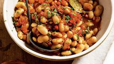 "Gigantes, or ""giant beans,"" are large white beans similar to large limas, which are a good substitute. In this recipe, the beans are cooked Greek-styl Healthy Crockpot Recipes, Slow Cooker Recipes, Vegetarian Recipes, Cooking Recipes, Vegetarian Options, Pasta Recipes, Vegetarian Dish, Crockpot Meals, Potluck Dishes"
