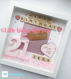 Handcrafted personalised 21st birthday keepsake in a vintage style 21st birthday personalised box frame photo frame happy birthday personalised unique scrabble letters photo added for free bookmarktalkfo Choice Image