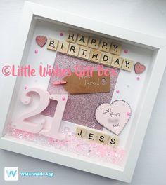 21st Birthday personalised box frame photo frame happy Birthday Frames, Birthday Box, Box Frame Art, Box Frames, Personalized Birthday Gifts, Personalised Box, Personalized Photo Frames, Celebration Box, Scrabble Frame
