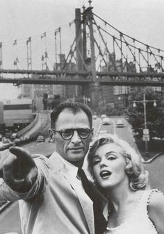 Marilyn Monroe and Arthur Miller in New York, photographed by Sam Shaw, 1957