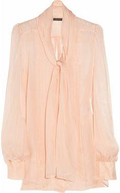 ShopStyle: Alexander McQueen Silk-chiffon pussy-bow blouse