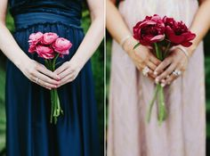 Bridesmaid bouquet.  Small bunch of single type flower.  Love the deep colored peonies.