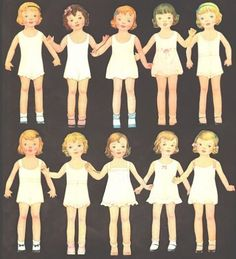 TEN-ROUND-ABOUT-DOLLS-ORIGINAL-MOSTLY-UNCUT-SET-FROM-1936