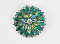 Green Watermelon Rhinestone Round 50s Brooch Vintage Jewelry. $25.00, via Etsy.