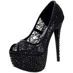 Women's Lace Rubber Sole High Heel Shoes Platform Ankle Clubwear ** Visit the image link more details. (This is an affiliate link) #Pumps