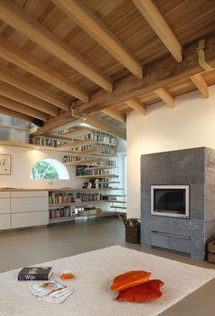 so warm, and yet spacious from the whitespace and concrete hearth