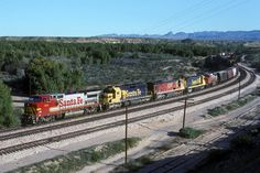 https://flic.kr/p/wg55Ne   1993-03-04 0855 ATSF 519 Topock, AZ   AT Topock, AZ a westbound train approaches the bridge across the Colorado River into California. Three versions of the Santa Fe paint scheme are on display in this consist.