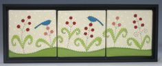 Handmade Ceramic Tile Tryptich Blue Birds and Red by emilydyer, $95.00 by Emily Dyer. Nice design!