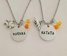 "Disney inspired Lion King necklace set ""HAKUNA"" "" MATATA"" Simba pumba no worries hand stamped disney jewelry charm necklace Disney Necklace, Bff Necklaces, Best Friend Necklaces, Diamond Cross Necklaces, Best Friend Jewelry, Disney Jewelry, Necklace Set, Emoji Jewelry, Necklace Charm"