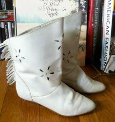 1980s White Leather Fringed Ankle Boots with Cutouts by moonfossil, $24.00