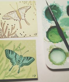 susie ghahremani painting on post it notes. and a blog post about the importance of holiday shopping with small businesses!