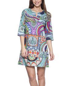 Blue Abstract Notch Neck Dress