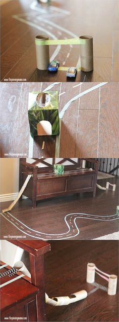 LOVE this! Make a race track for your kids out of washi tape and old toilet paper tubes. This is so perfect for when it gets cold and we have to stay inside!