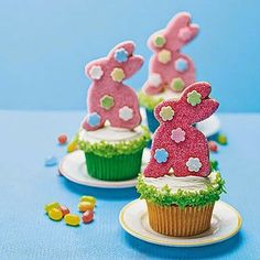 What a great idea from MyRecipes.com!  Bunny-shaped cookies make perfect cupcake toppers! Use your favorite cupcake and frosting recipes and garnish with shredded coconut and festive sprinkles.  (And my imagination is gone wild thinking of other holidays! Why have boring cupcakes. LOL)