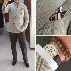http://chicerman.com  styleforumnet:  A double breasted sportcoat is a staple in anyones wardrobe. We like this one with a large herringbone weave. Pair it with bead bracelets for a more casual look!  #menshoes