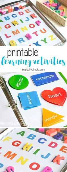 Learning Activities Binder & Free Printable - Typically Simple Create a preschool learning activities binder with a free printable for letters and shapes. (ad)<br> Create a preschool learning activities binder with a free printable for letters and shapes. Preschool Learning Activities, Preschool At Home, Preschool Classroom, Infant Activities, Toddler Preschool, Educational Activities, Educational Websites, Preschool Binder, Preschool Activities At Home