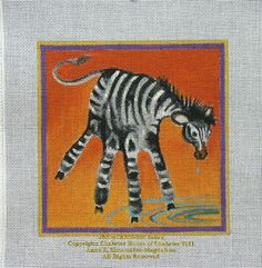 Annies Current Paintings: Childrens Hand Print Zoo Animals for Needlepoint