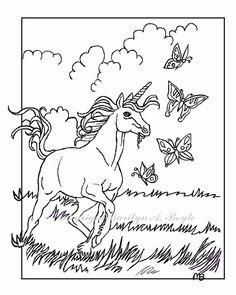 digital poster or coloring page unicorn foal by originalsandmore