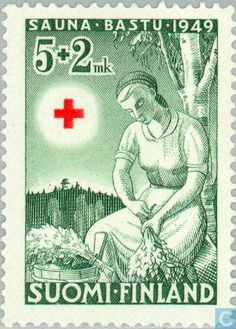 Sauna: Binding of Bunches of Birch Branches (פינלנד) (Red Cross) Mi:FI 368 Stamp World, Scandinavian Countries, Small Words, Vintage Stamps, Artist Trading Cards, Red Cross, Stamp Collecting, Nostalgia, Birch Branches