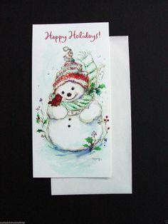 Unused Mary Hamilton Xmas Greeting Card Darling Snowman with Little Red Bird | eBay