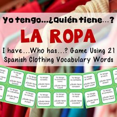 Whole class, interactive game for practicing Spanish clothing vocabulary.