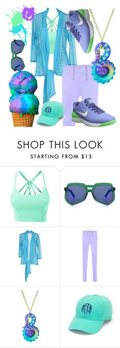 """""""Green Purple Blue"""" by chelsea-komschlies ❤ liked on Polyvore featuring LE3NO, Grey Ant, CALALUNA and NIKE"""