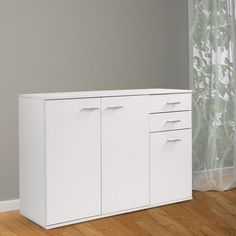 White Sideboard Buffet Cupboard Storage Drawers Dining Room Furniture Cabinet