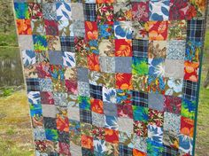 quilt made from a woman's father's old Hawaiian shirts.