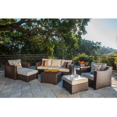Corvus Matura Outdoor 9-piece Brown Wicker Sofa Set with Beige Cushions