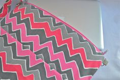 """15 inch Laptop Bag for MacBook Pro  Bright Pink and Grey 15"""" Case  Messenger Bag with Strap - Chevron Stripe zig zag  by Darby Mack"""