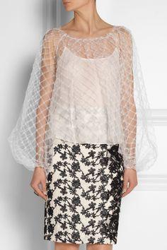 Oscar de la Renta Tulle blouse NET-A-PORTER.COM