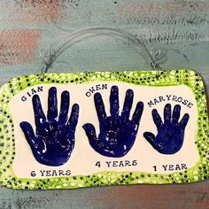 Sibling hand print impressions in clay with our signature texture border. Baby Hand And Foot Prints, Hand Prints, Random Items, Baby Footprints, Baby Hands, Pottery Studio, Little Miss, Sibling, 6 Years