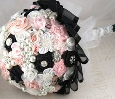 Brooch Jeweled Bouquet in Black Blush Pink White with by SolBijou, $550.00