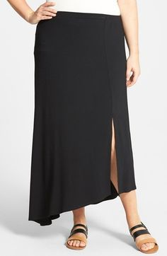 Vince Camuto Side Slit Asymmetric Maxi Skirt (Plus Size) | Nordstrom